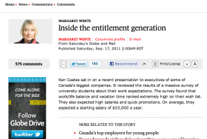 Screen shot of Wente's article at www.theglobeandmail.com.