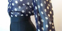 Vintage polka-dot blouse provided by rose, found at swingfashionista.com