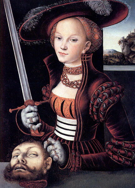 Painting of Judith mit dem Haupt des Holofernes by Lucas Cranach the Elder. (Image taken from Wikimedia Commons)