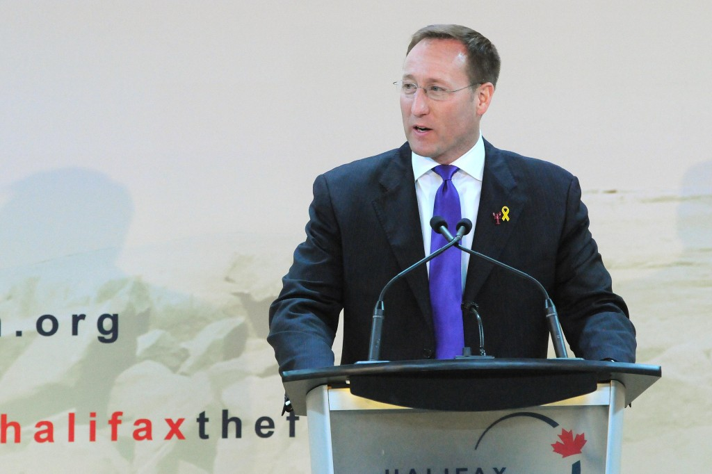 Canada's Minister of National Defence Peter MacKay speaking at the Halifax International Security Forum Friday afternoon. (Photo from halifaxtheforum.org)