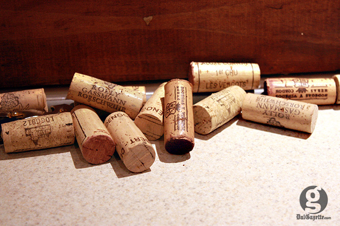 The discarded corks from bottles opened that evening. (Jessica Emin photo)