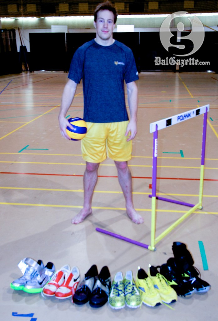 McCulloch is adding new court shoes to his collection now that he's joined Dal volleyball. (Alice Hebb photo)