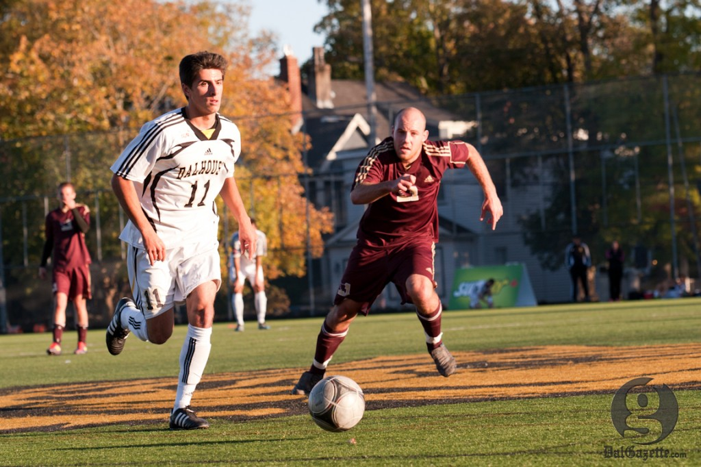 Aaron Hoyle and his men's soccer teammates finished off their season with a semifinal loss. (Chris Parent photo)