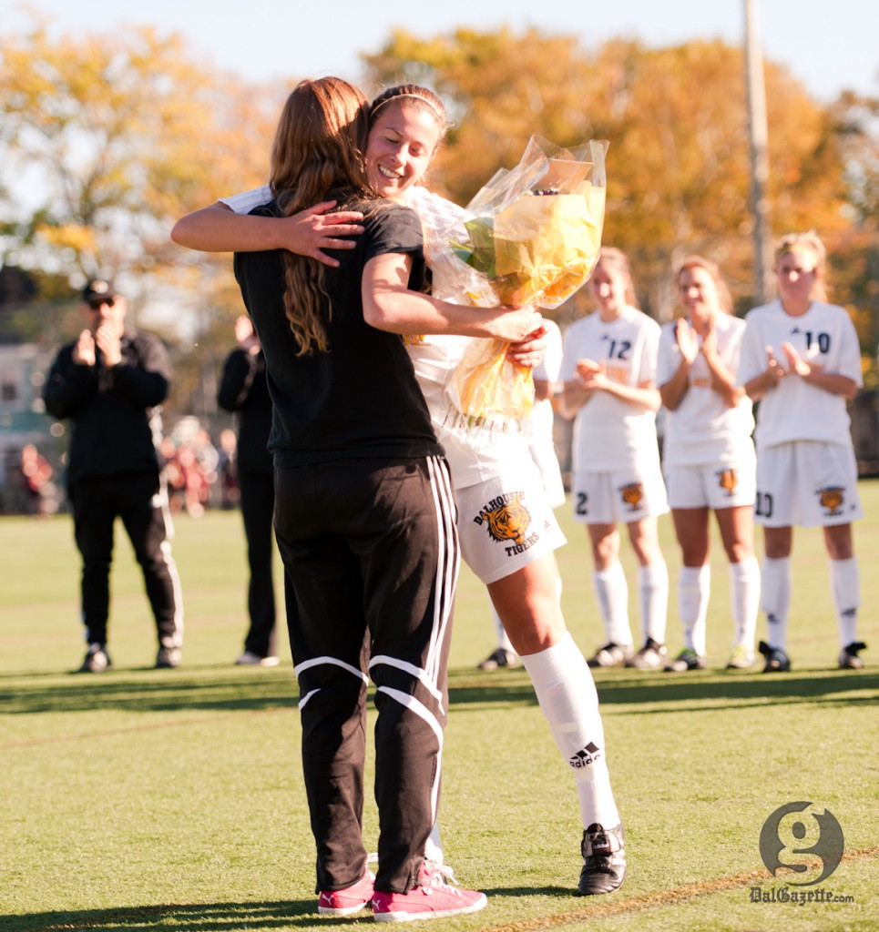 Captain Rieka Santilli says her final goodbye to Wickwire Field. (Chris Parent photo)