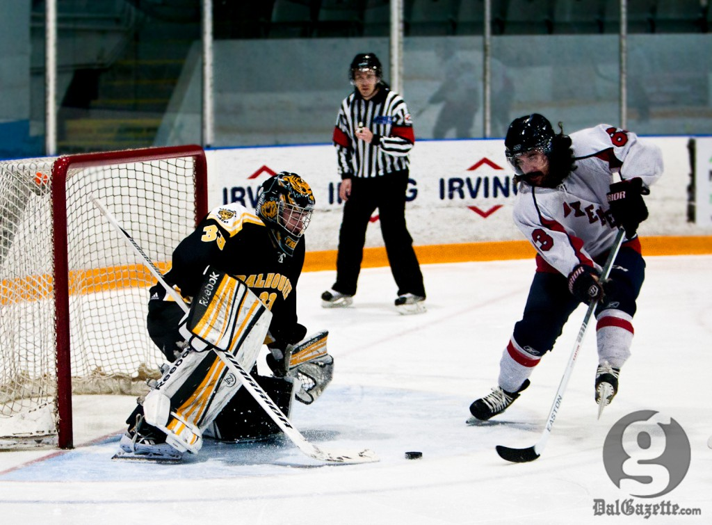 Wendell Vye stopped 31 shots in Dal's 3-1 defeat against Acadia. (Martina Marien photo)