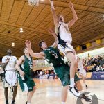 Simon Marr outmuscles his UPEI opponent in Dal's 81-71 victory. (Chris Parent photo)