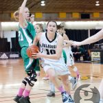 Tessa Stammberger drives to the basket in Dal's 74-66 defeat vs. the last-place UPEI. (Chris Parent photo)