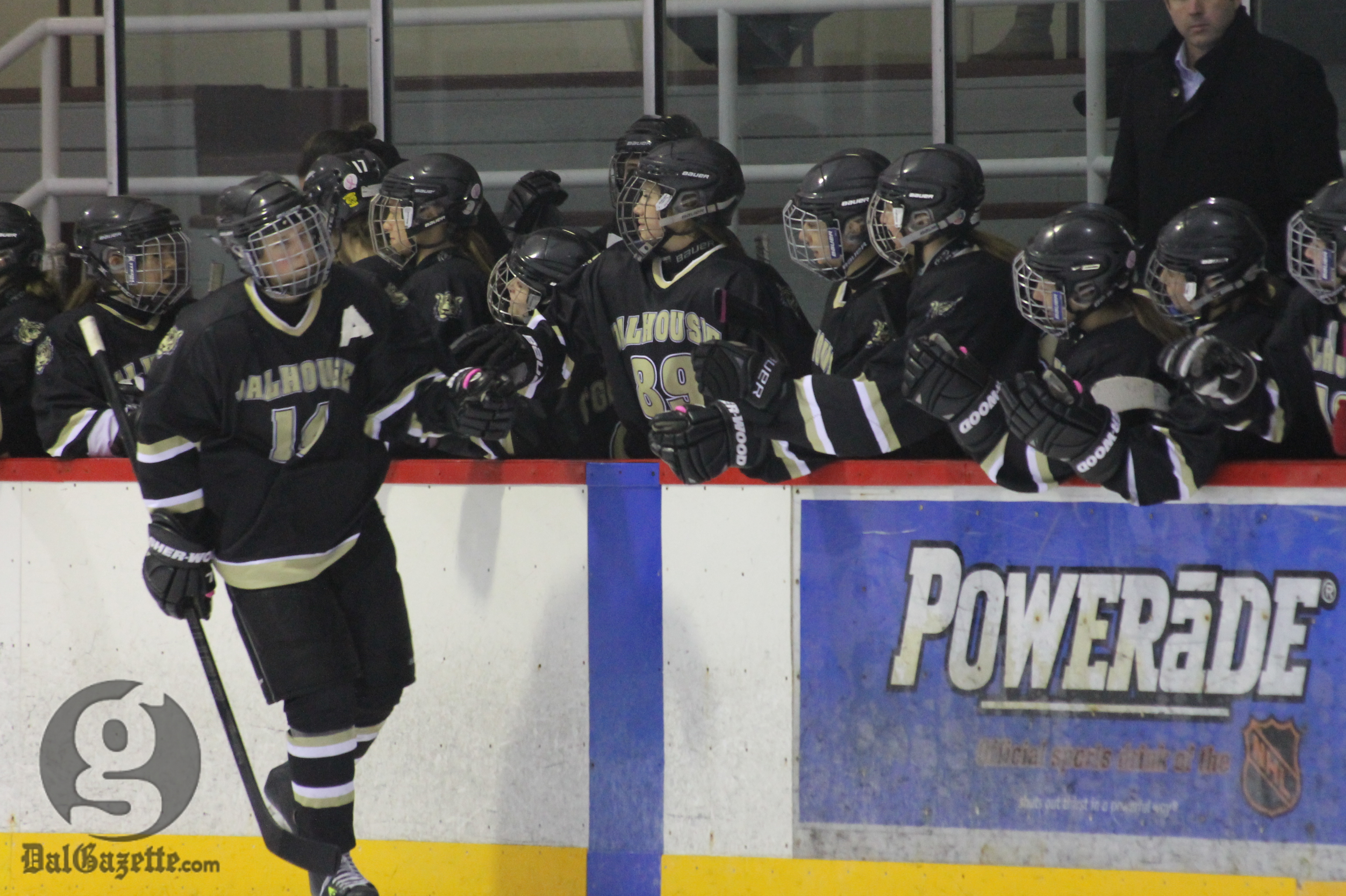Dal's women's hockey team hopes celebrations like this one will be commonplace at Alumni Arena next season. (Photo by Richard Lafortune)