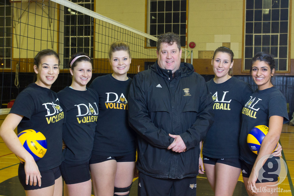 Dal volleyball stars, from left, Hilary Sears, Tara-Lynn Truant, Maggie Powers, coach Rick Scott, Louise Facca and Raeesa Lalani. (David Munro photo)