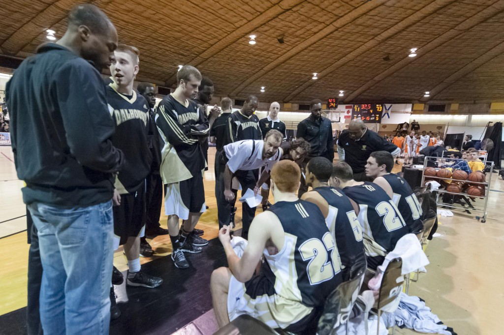 Tigers men's basketball coach John Campbell, in white, is leaving Dalhousie. (Chris Parent photo)