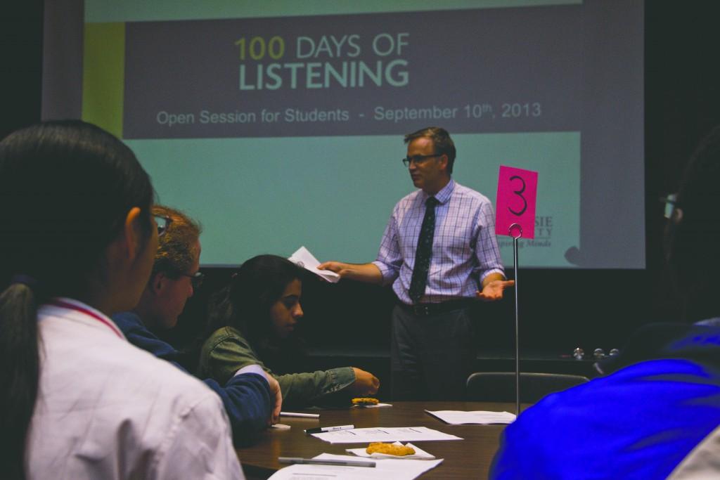 Dr. Richard Florizone speaks to those few in attendance (photo by Bryn Karcha)