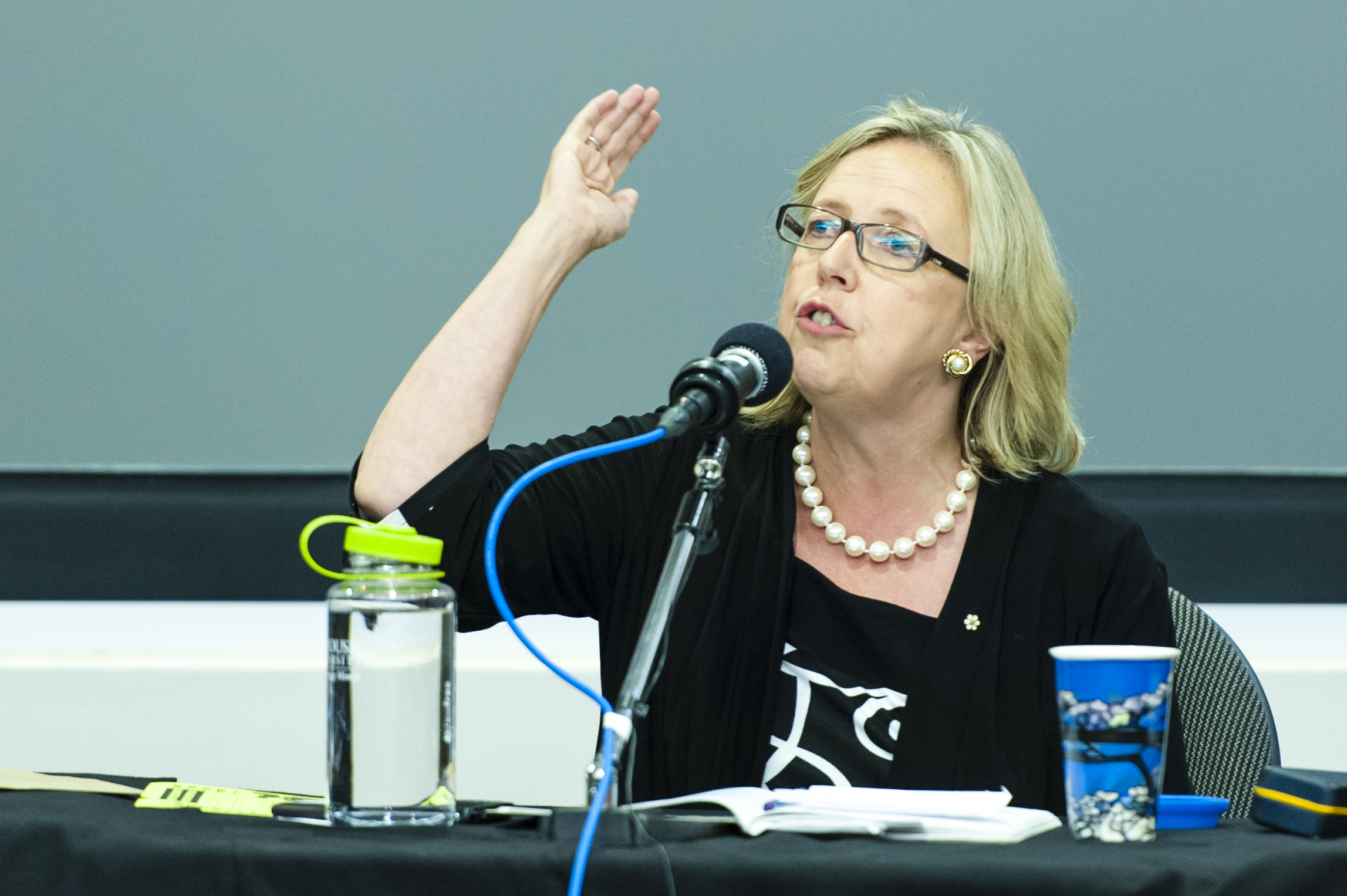 Elizabeth May debating party politics at an event on campus last week. (Chris Parent photo)