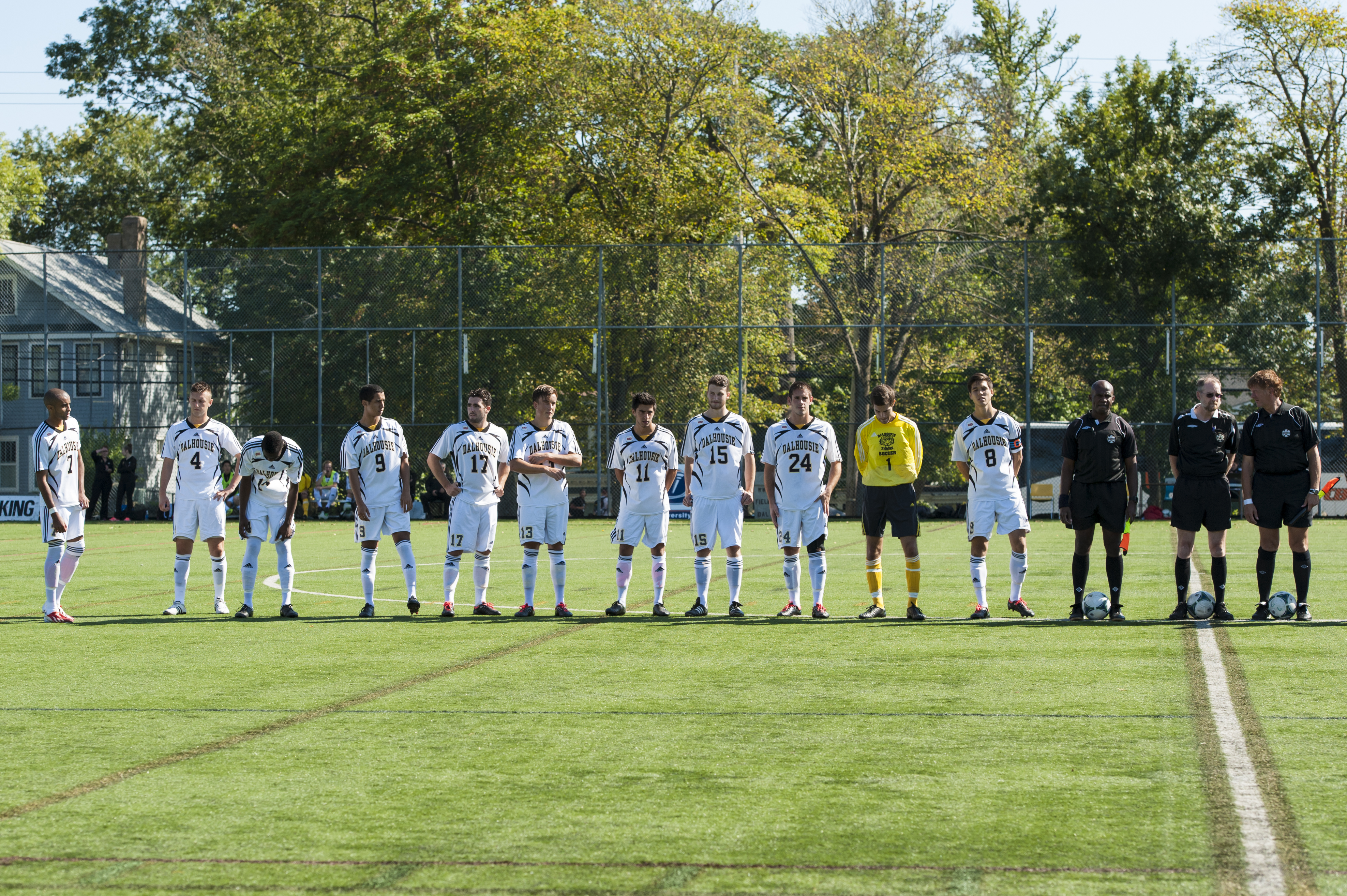 Men's soccer starting lineup at their home opener Sept. 7. (Chris Parent photo)