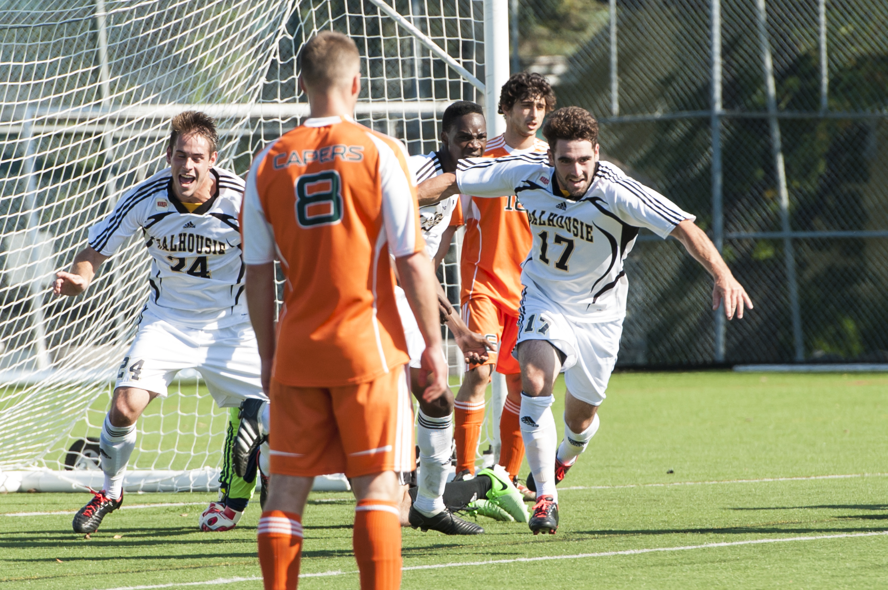 Tyler Lewars (17) celebrates after one of his two goals against CBU. (Photo by Chris Parent)