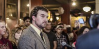 SMUSA president Jared Perry addresses the press on September 5 before stepping down the next day. He participated in the chant. (Calum Agnew photo)