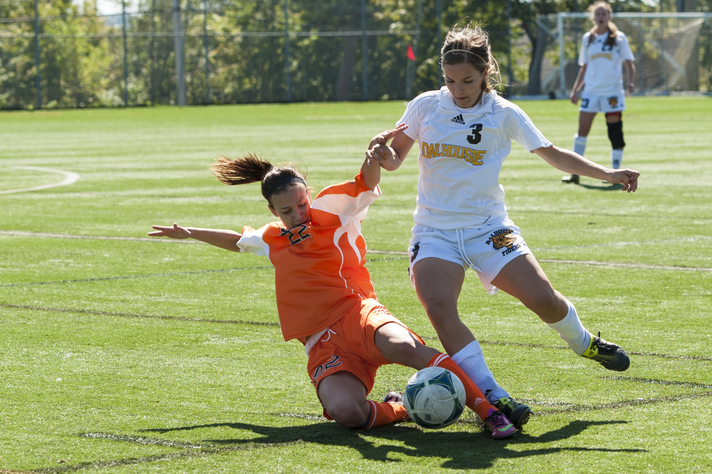 Andie Vanderlaan (3) on attack against the Capers. (Photo by Chris Parent via Dalhousie Athletics)