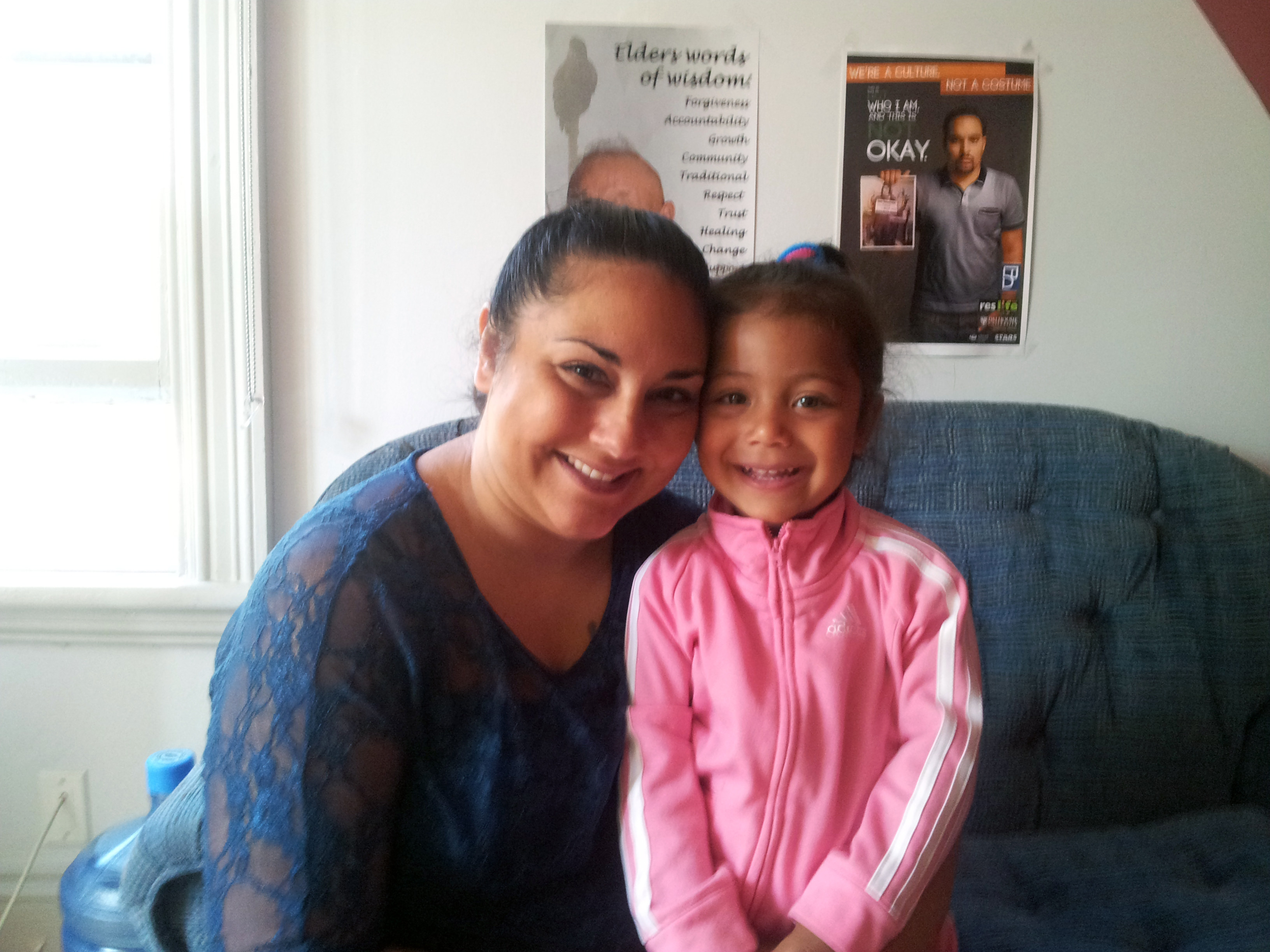 Lisa and daughter Jurni Robinson, age 3, at the Native Education Counselling Unit (photo by Kristie Smith)
