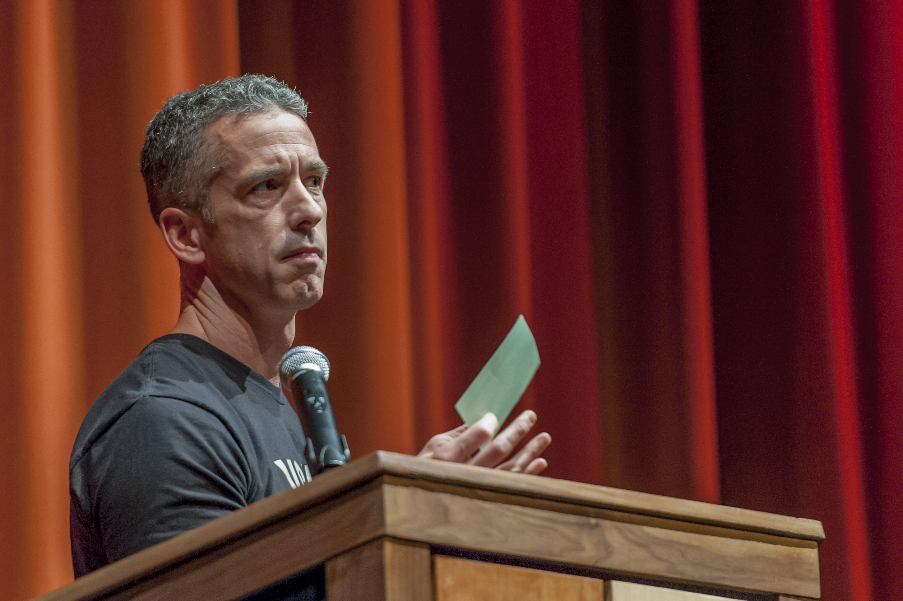 Dan Savage, visibly disturbed by Halifax's questions (photo by Chris Parent)