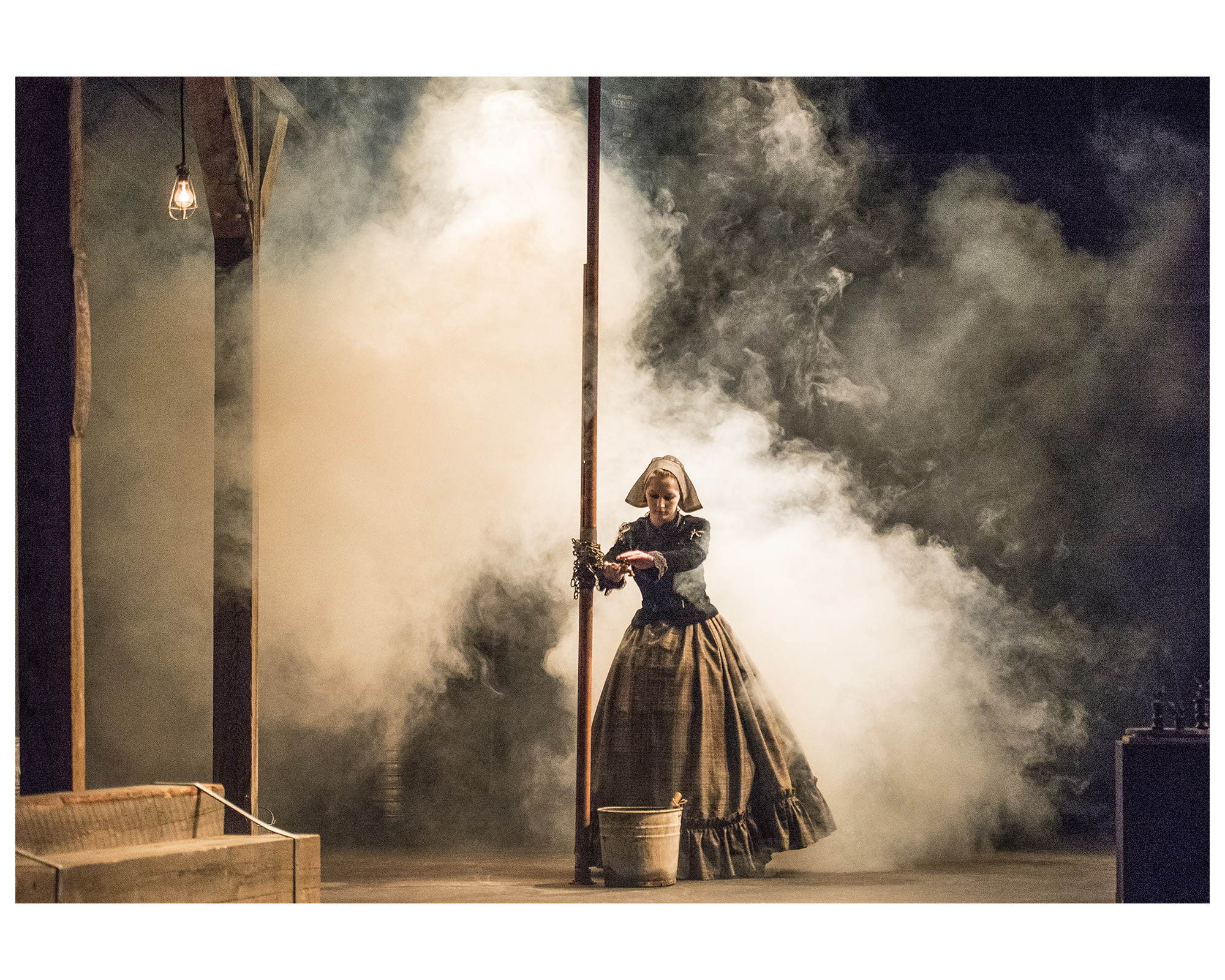A ghostly milkmaid haunts the stage (photo by Ken Kam via Dalhousie Theatre)