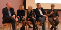 Tim Bousquet, far right, disagrees with his fellow panelists on the future of journalism (Photo by Dave Lostracco)
