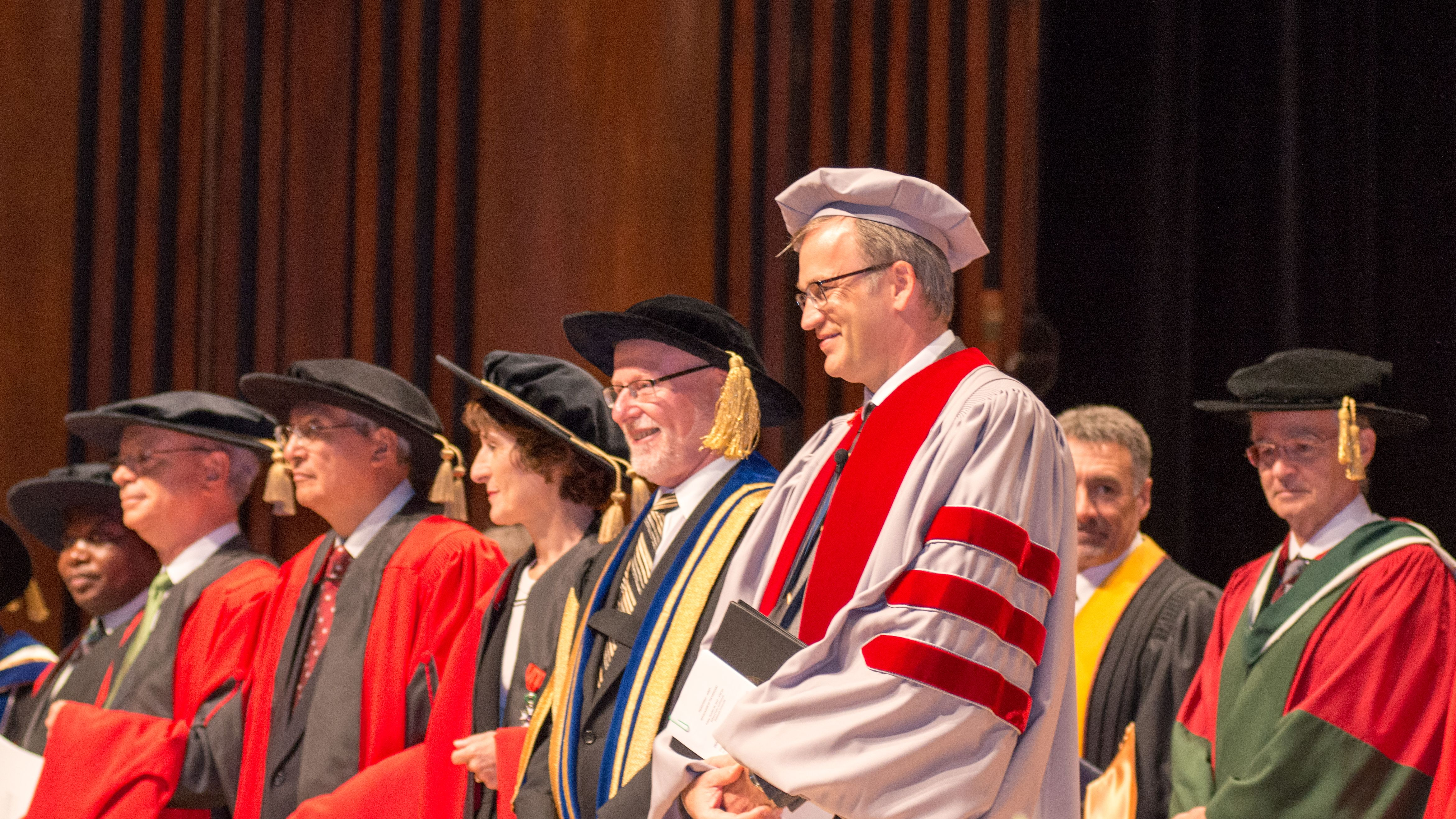 President Richard Florizone, foreground, is joined by his predecessor Tom Traves at the induction ceremony of Dalhousie's 11th president earlier this month. (Photo by Amin Helal)