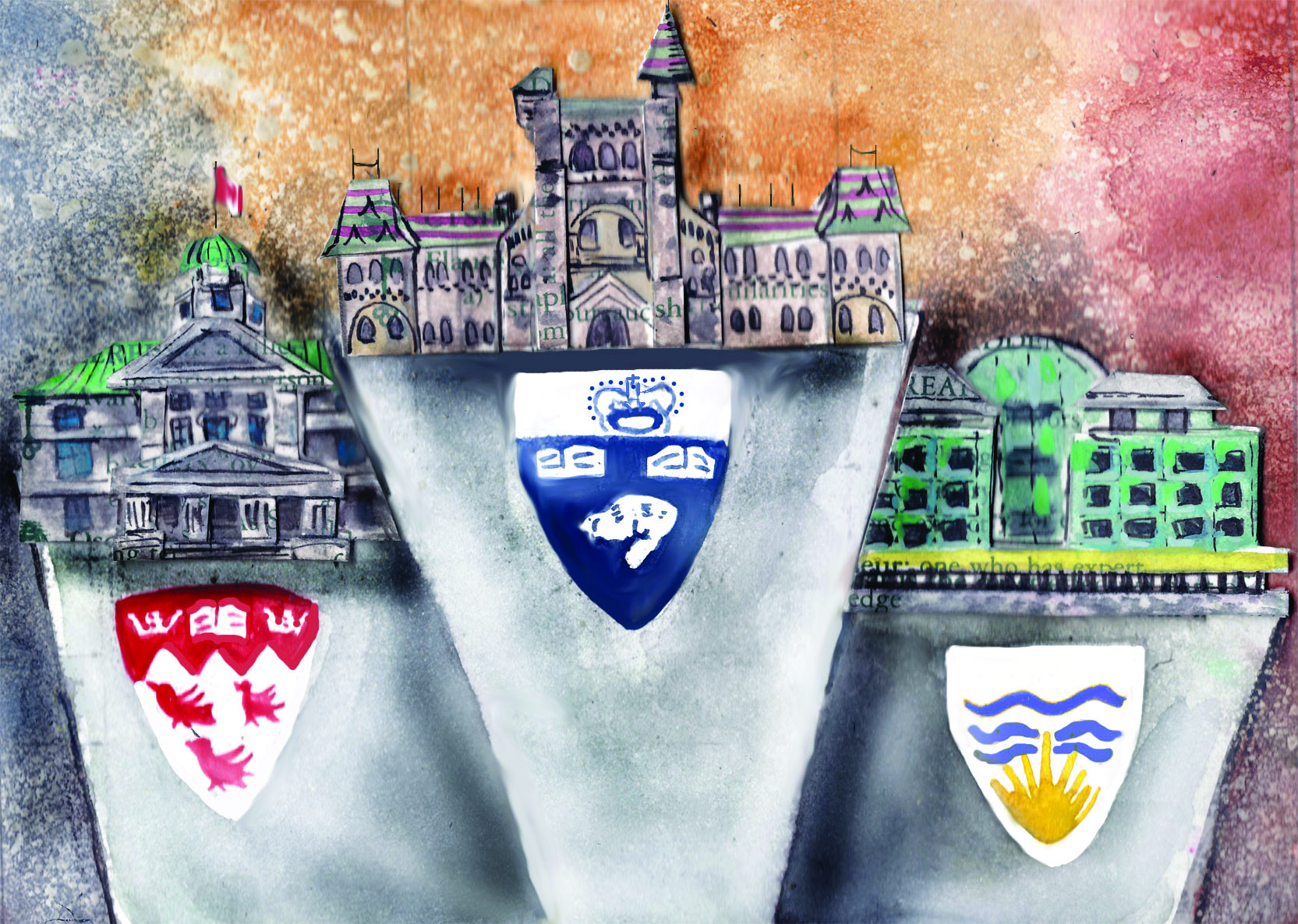 U of T on first, McGill on second, UBC on third (Illustration by Amber Solberg)