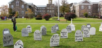 Gravestones on the quad