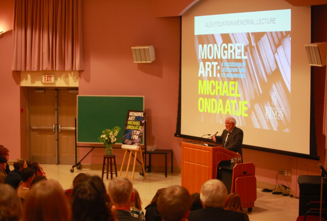 Ondaatje before a crowd on earnest listeners (Photo by Kerry Delorey)