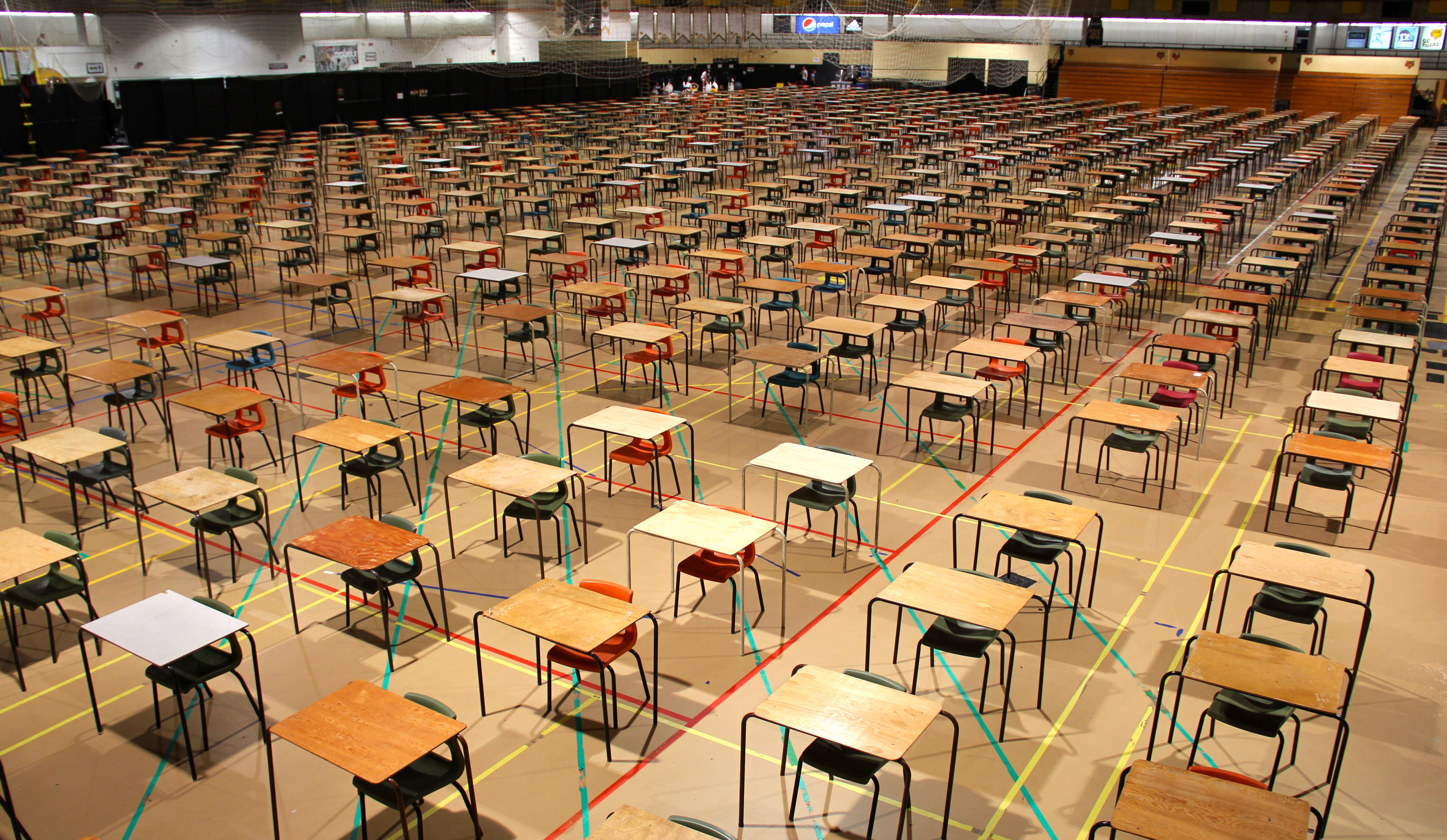 Nearly 2,000 desks line the Dalplex fieldhouse as the exam period kicked off on Wednesday. (Photo by Ian Froese)