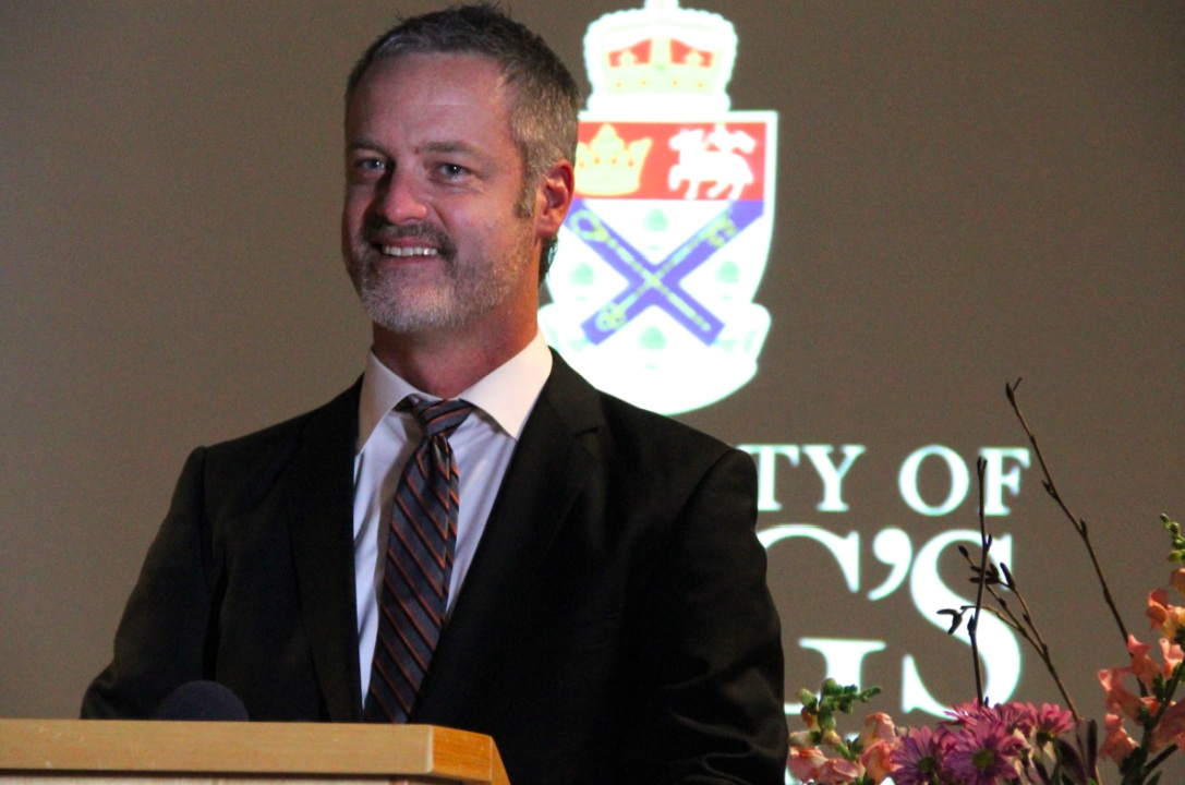 Rob Sobey speaks to King's students and staff on behalf of his father Donald. (Photo by Ian Froese)