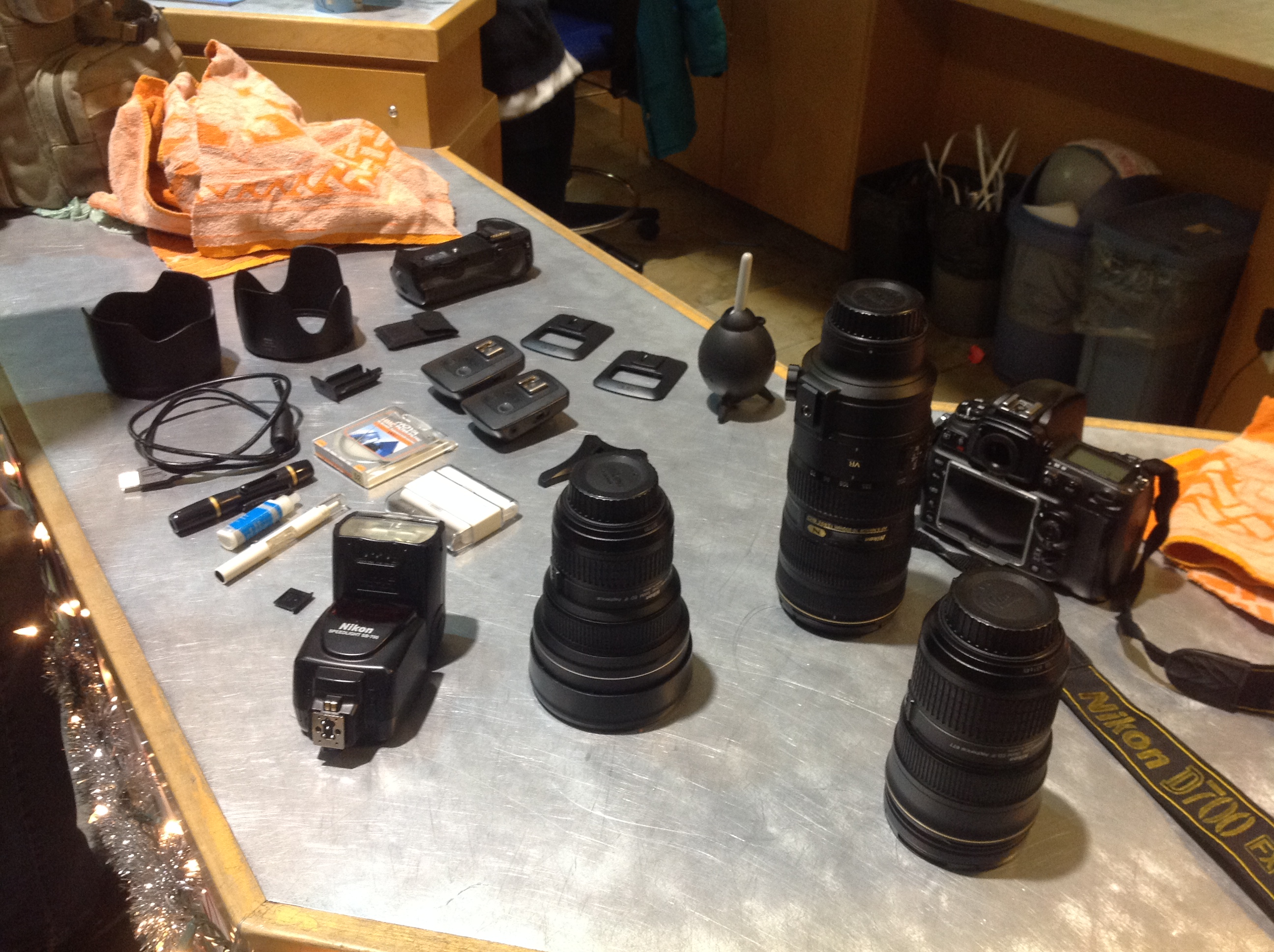 Chris Parent's found photo gear laid on the SUB front desk. (Photo by Ian Froese)
