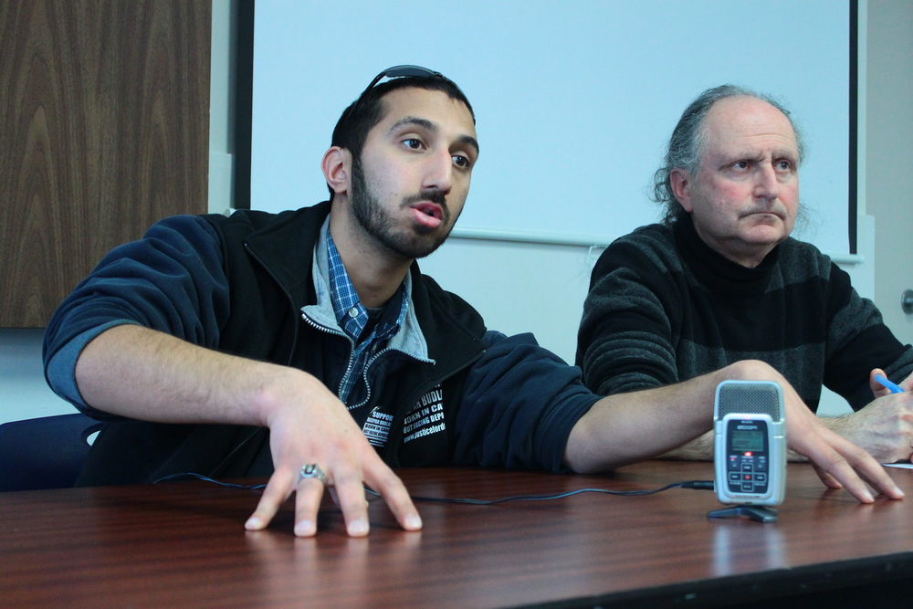 Budlakoti and Halifax lawyer Lee Cohen answer questions at Dal. (Photo by Sima Sarah Zerehi)