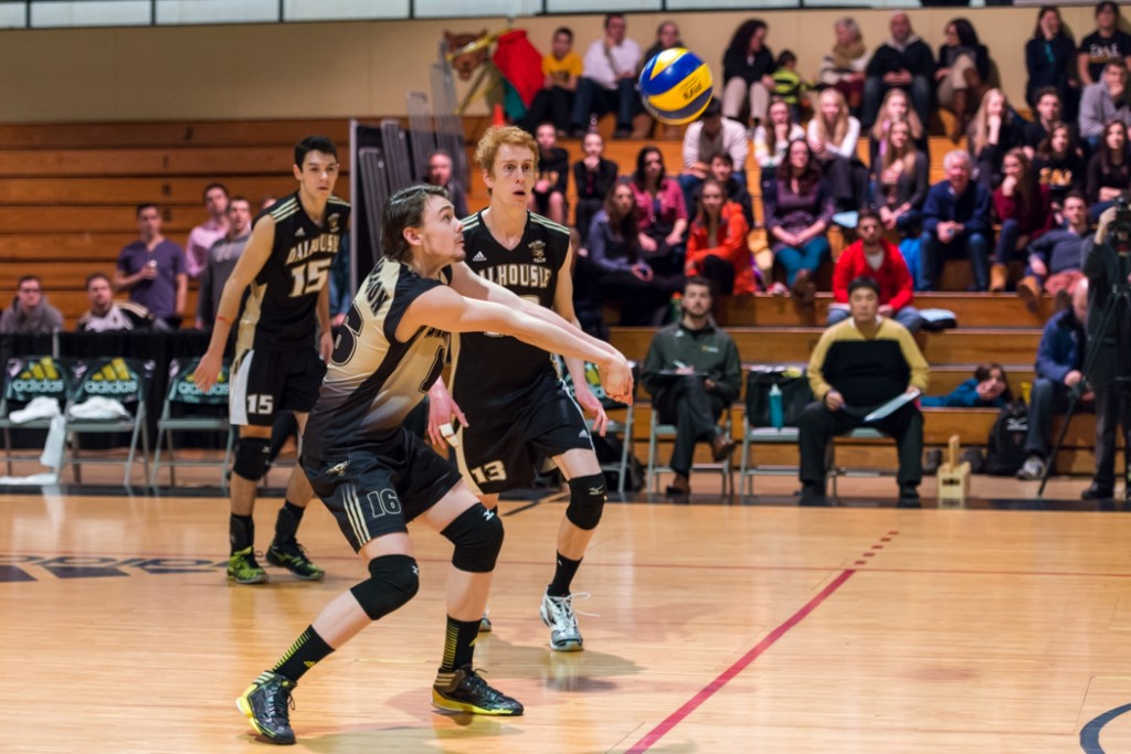 Dalhousie liberio Adam Sandeson helped the Tigers win Game 1 of the AUS men's volleyball championship series. (Photo by Chris Parent)