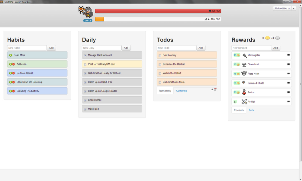 HabitRPG only adds more to your packed agenda. (Press image)