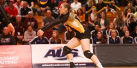 Dalhousie's Desiree Nouwen keeps the ball in play - she would finish the game with 11 digs. (Photo by Nick Pearce via Dal Athletics)