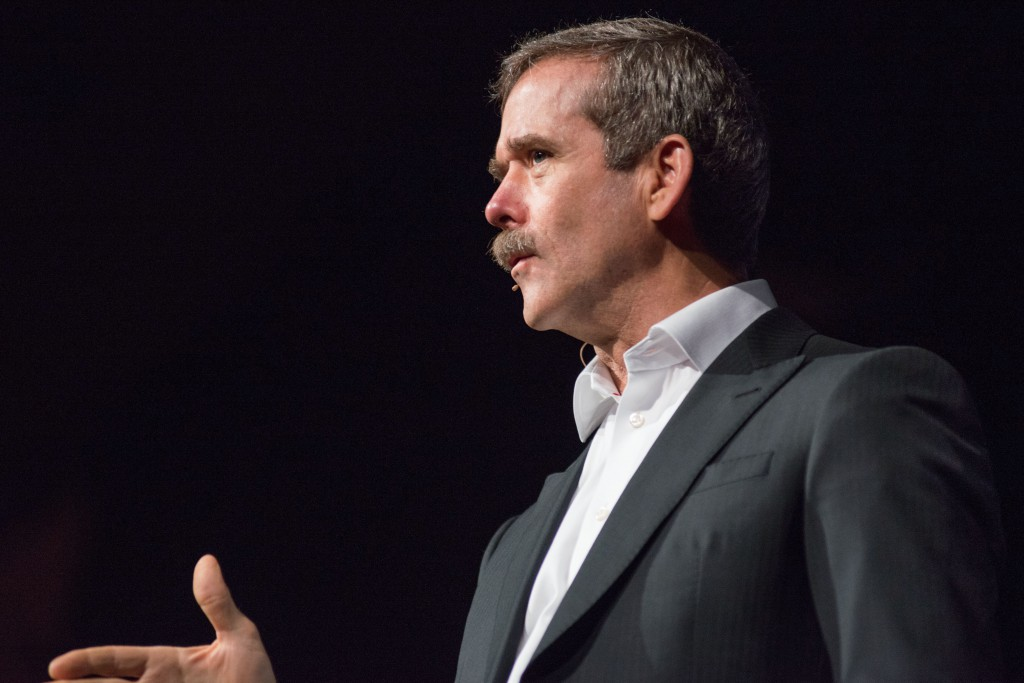 Retried Canadian astronaut Chris Hadfield spoke at Dalhousie. (Photo by Amin Helal)