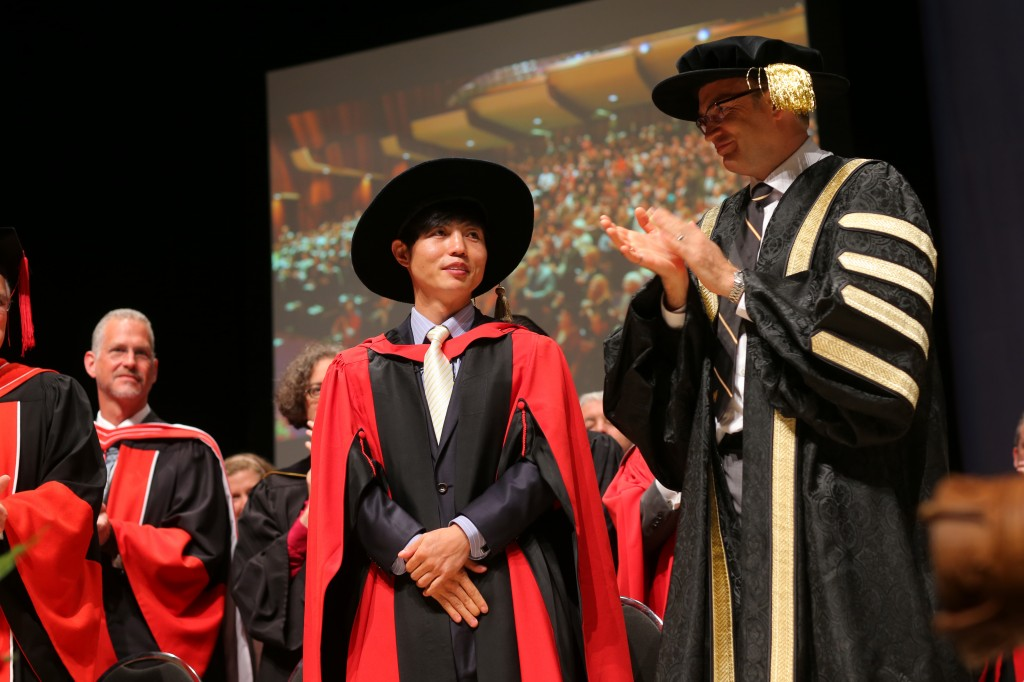 Shin Dong-hyuk received a honorary doctorate from Dalhousie on Tuesday.