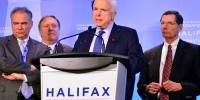 Sen. Tim Kaine, Rep. Mike Pompeo, Sen. John McCain, Sen. John Barrasso at a press conference. (Photo by Rachel Richard)