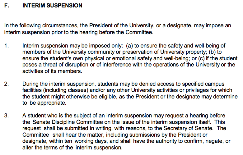 A section of Dalhousie's Code of Student Conduct.