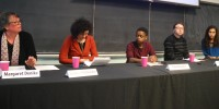 L–R: Margaret Denike, Dorota Glowacka, Tino Chiome, Greyson Jones, El Jones. (Photo by Rebecca Hussman)