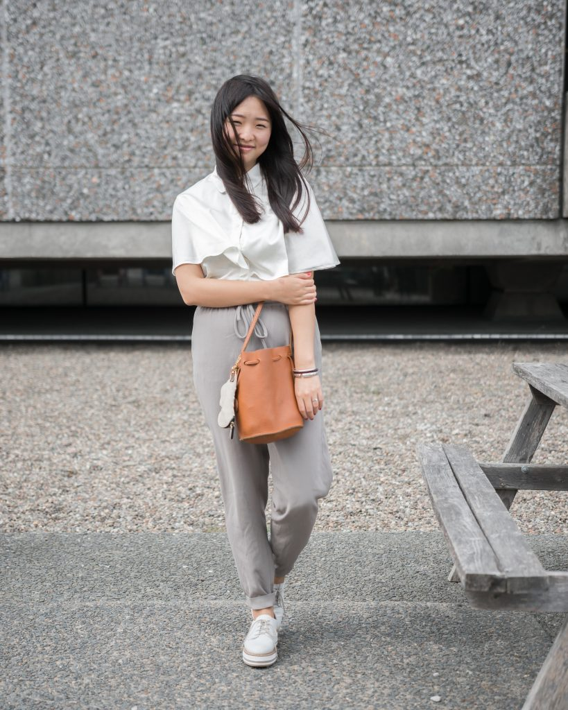 Yoki Zhang @UTSAMAXD Top: China Pants: Aritzia Shoes: Browns Bag: Korean online store Jewellrey: China
