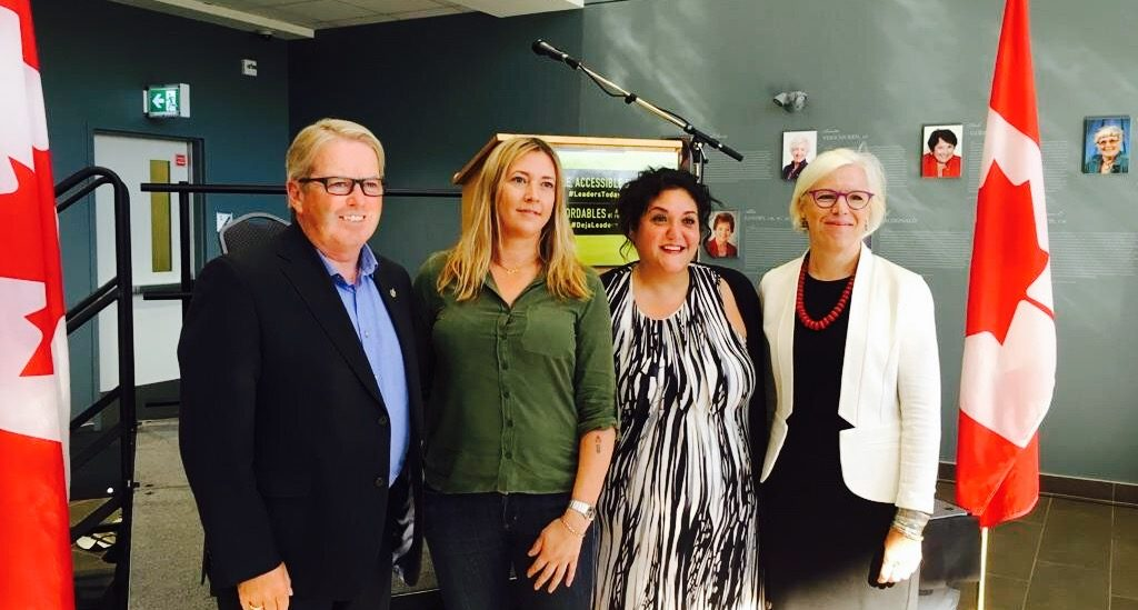 MP and Parliamentary Secretary Rodger Cuzner, student Allie Bennett, MLA Patricia Arab and Vice President, Academics of MSVU Elizabeth Church.
