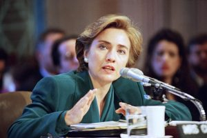 First Lady Hillary Rodham Clinton testifies before the Senate Finance Committee on Capitol Hill on health care reform in Washingtonn Thursday, Sept. 30, 1993. In twelve hours of testimony over three days, many lawmakers said Mrs. Clinton's solo turns at their witness tables gave government a good name. (AP Photo/John Duricka)