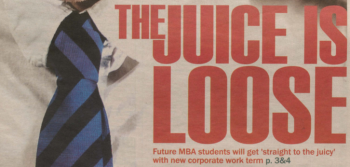 Management faculty pulls 'Straight to the Juicy' ads