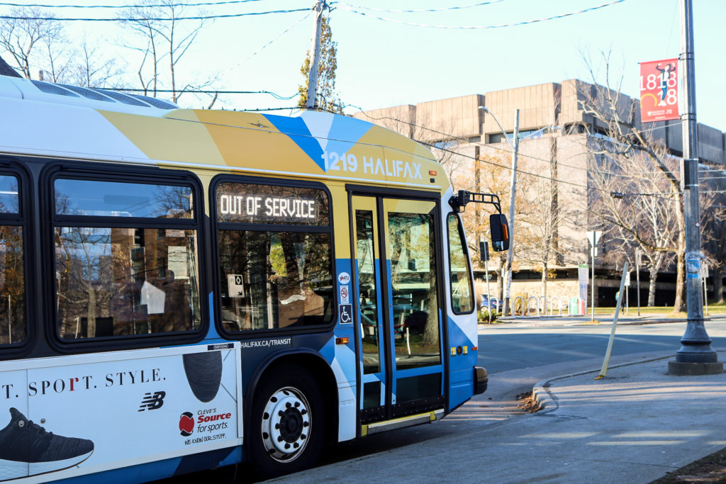 In this image: an out of service Halifax Transit bus.