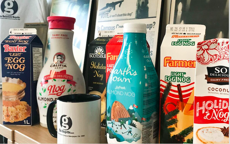 In this image: a variety of egg nog brands.