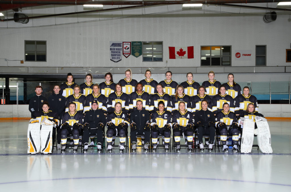 In this image: Dal's women's hockey team for the 2018-2019 year.