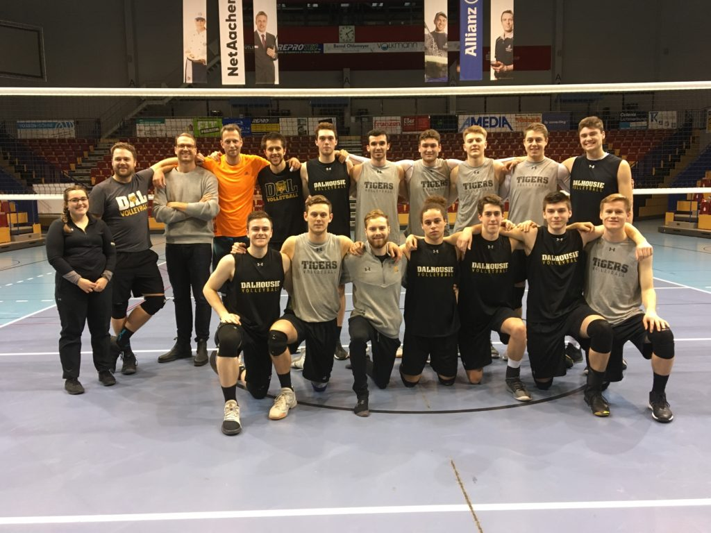 In this image: Dalhousie University's men's volleyball team.
