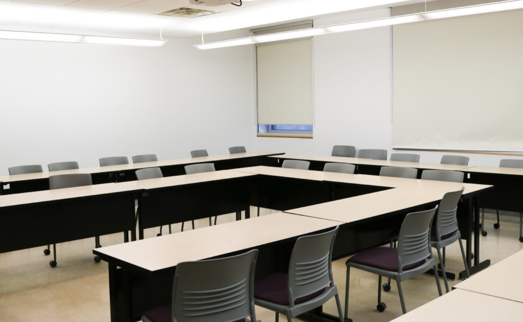 In this image: an empty meeting room on Dal campus.