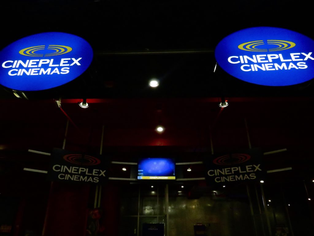 In this image: Cineplex movie theatre.